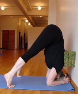 headstand: three blocks at the wall