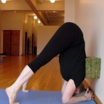 Five-Minute Yoga Challenge: half a headstand with 3 blocks and a wall