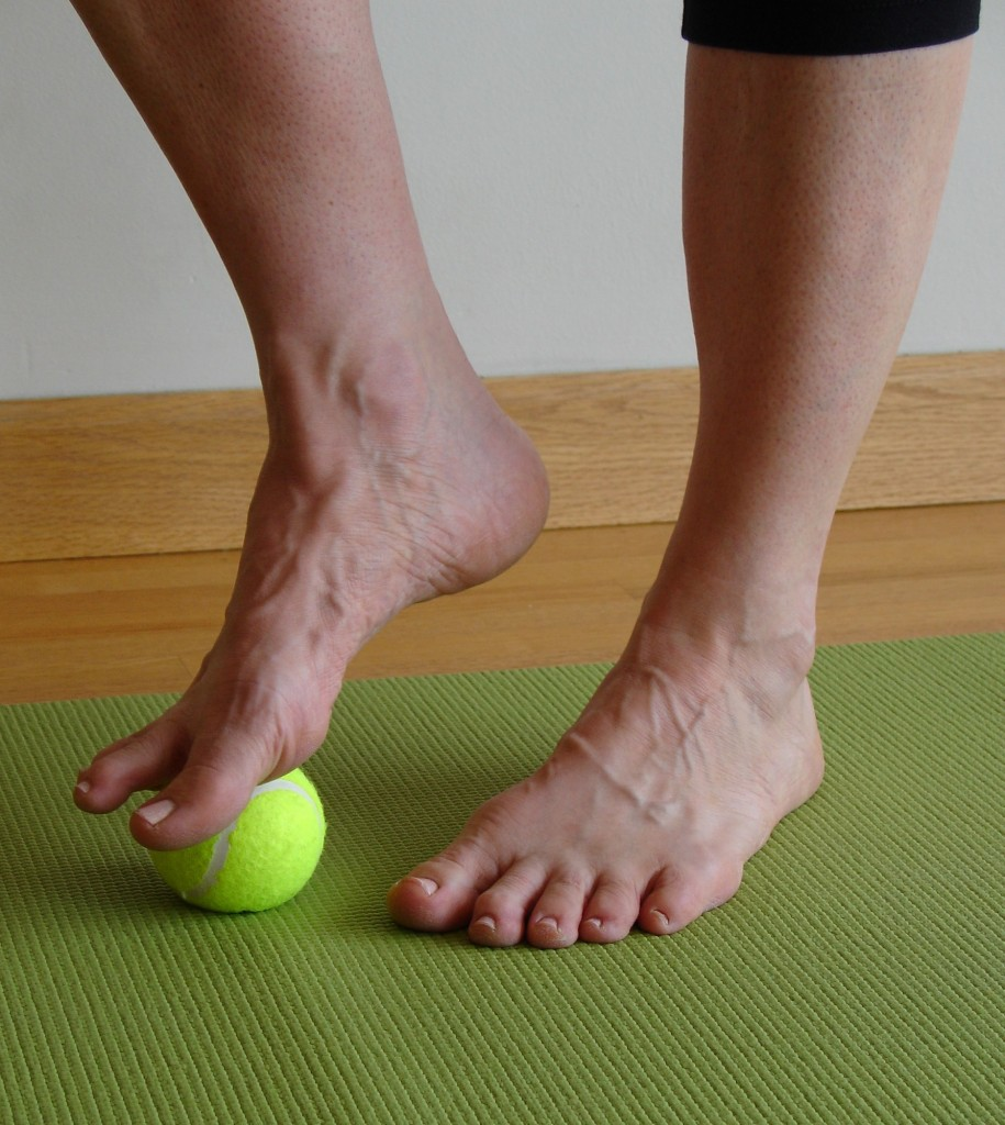 Roll Your Feet on a Tennis Ball to Loosen Tight Hamstrings – Five