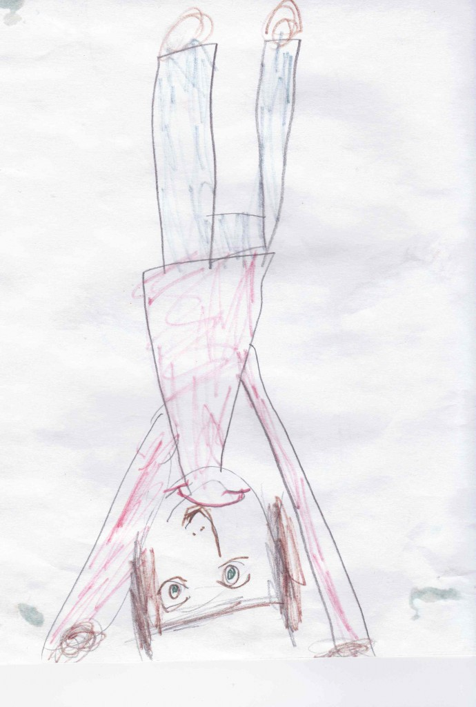 Allison drew this when she was three and we used to do yoga together. Now she has her own blog.