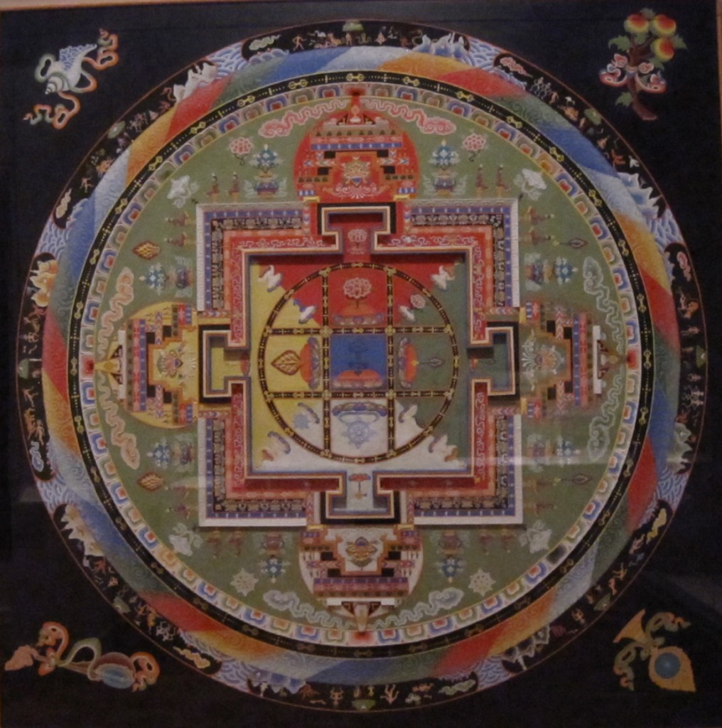 "A Tibetan mandala – ""the cosmic blueprint of the celestial palace of Yamantaka, Conqueror of Death"