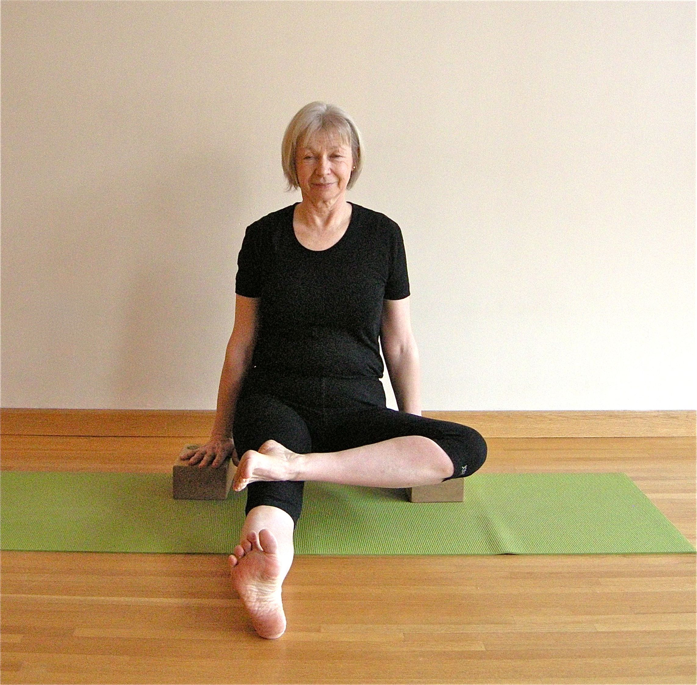 Press your hands into bricks and lift: you'll make space in your pelvis.