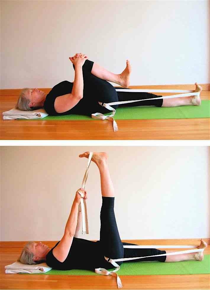Yoga poses using a chair - Use A Strap Around Your Hip Crease To Free Your Groins