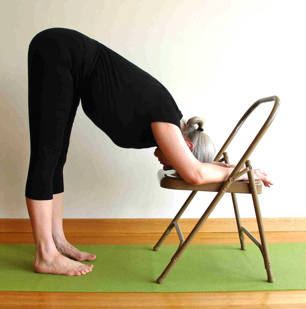 Uttansana with head rest on a chair seat