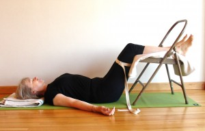 chair rest pose, with calves on the seat of the chair