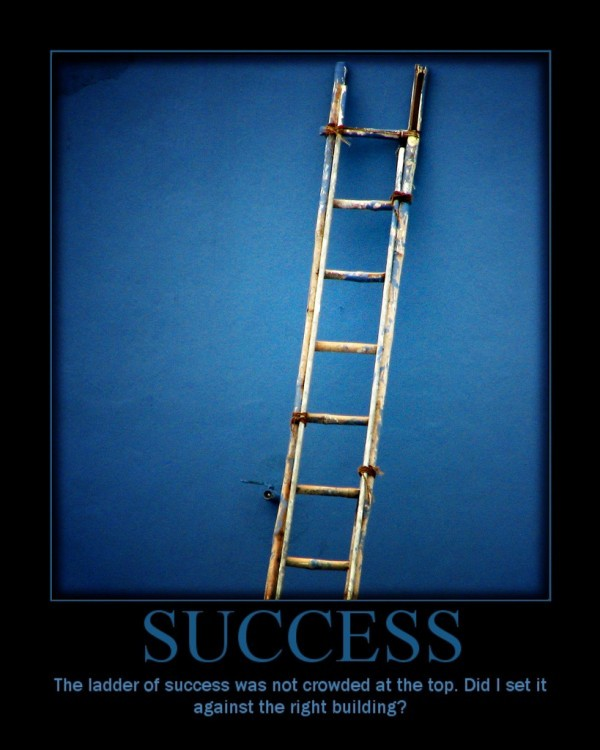 The ladder of success was not crowded at the top; did I set it against the wrong building?