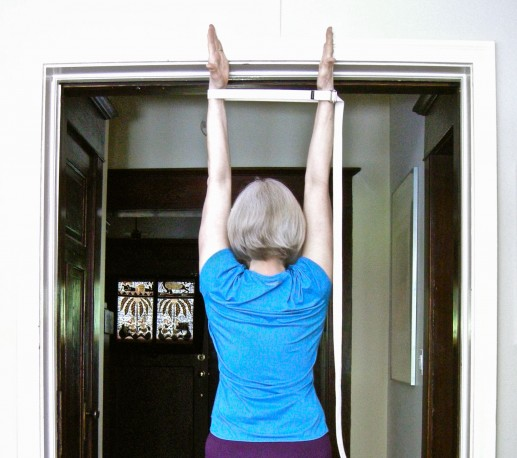 an arm strech in a doorway